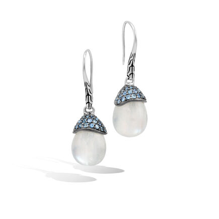 Classic Chain Celestial Orb Drop Earring, Silver, Gemstone