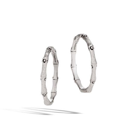 Bamboo Medium Hoop Earring in Brushed Silver, , large