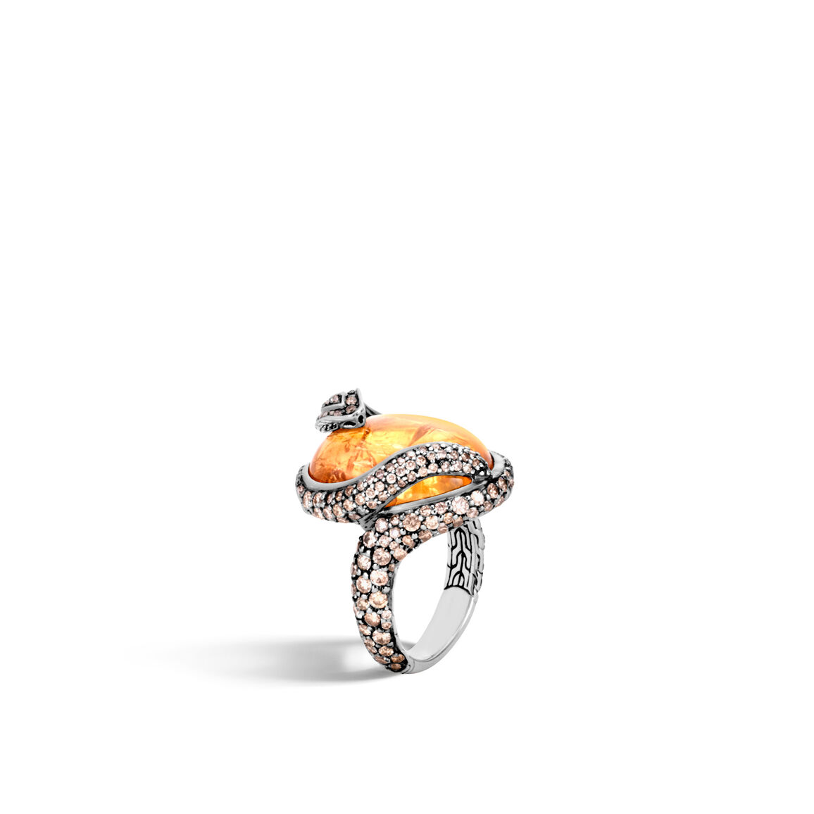 Legends Cobra Ring in Silver with 20x15MM Gemstone, Diamonds