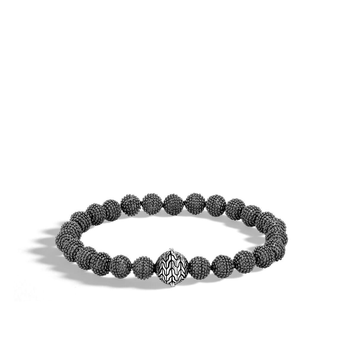 Chain Jawan 8MM Bead Bracelet in Blackened Silver