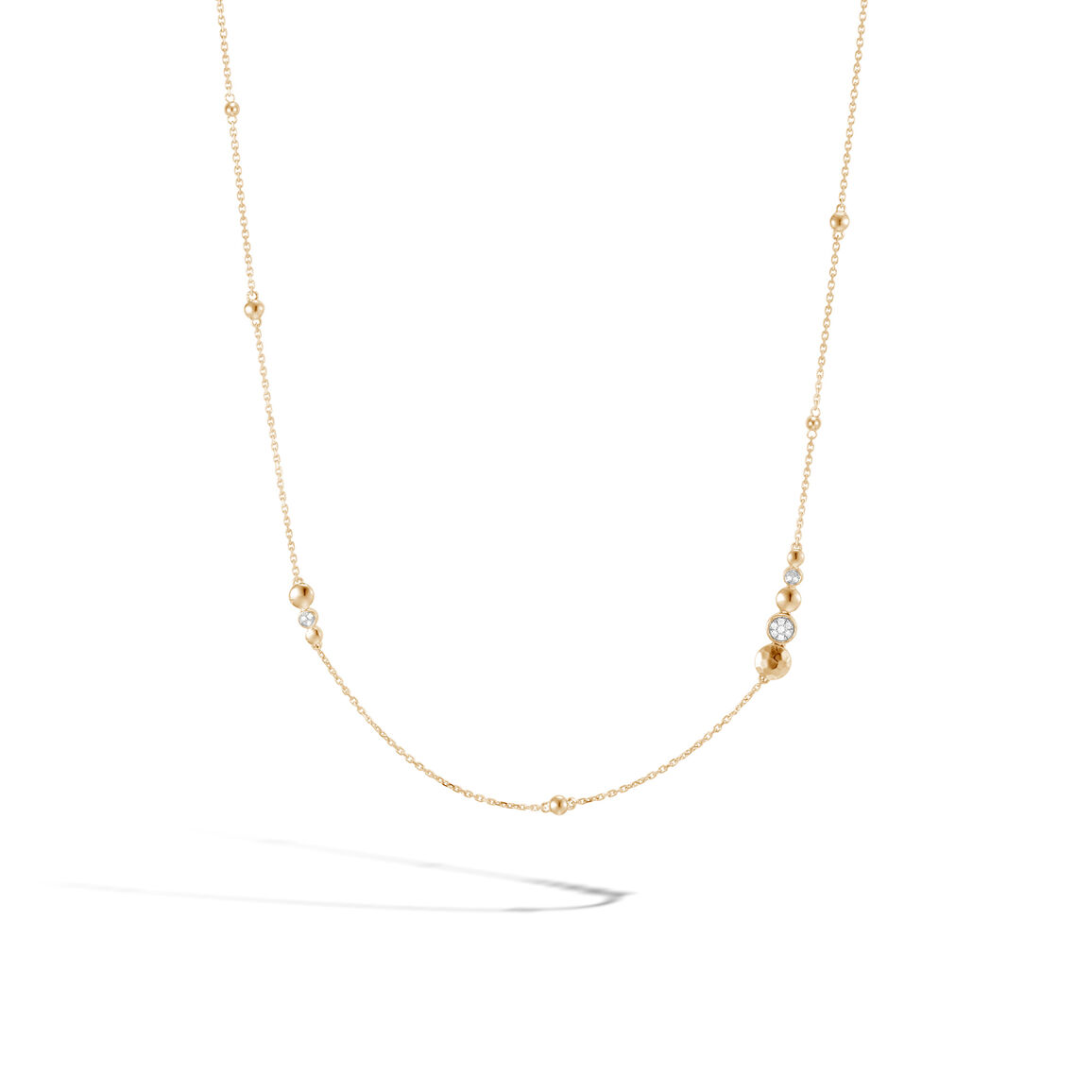 Dot Station Necklace in Hammered 18K Gold with Diamonds