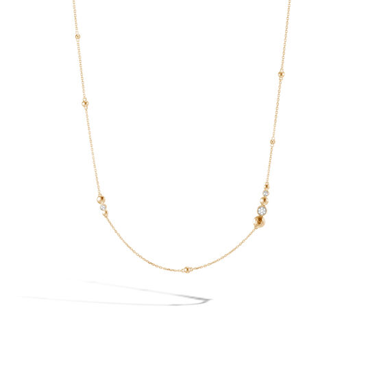 Dot Station Necklace in Hammered 18K Gold with Diamonds, White Diamond, large