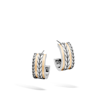 Modern Chain Small Hoop Earring in Silver and 18K Gold