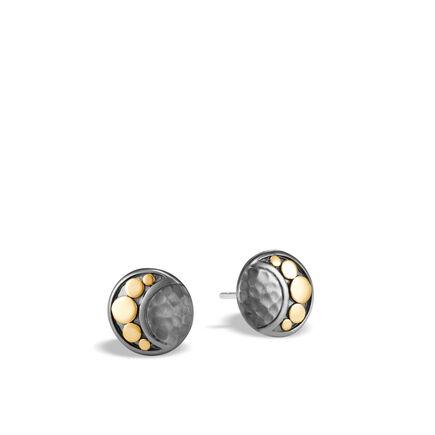 Dot Moon Phase Stud Earring, Hammered Blackened Silver, 18K