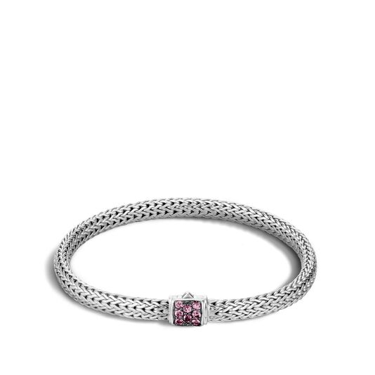 Classic Chain 5MM Bracelet in Silver with Gemstone, Pink Spinel, large