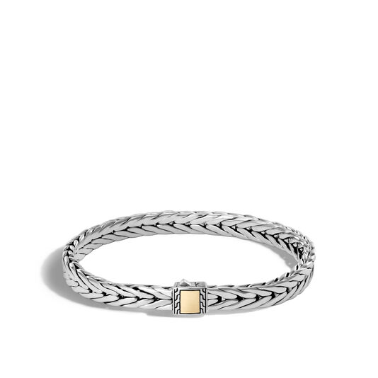 Modern Chain 7MM Bracelet in Silver and 18K Gold, , large
