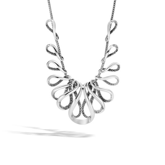 Asli Classic Chain Link Bib Necklace in Silver, , large