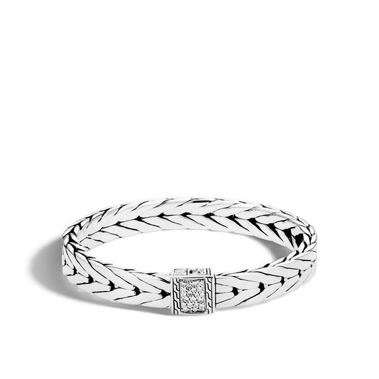Modern Chain 9MM Bracelet in Silver with Diamonds, White Diamond, large