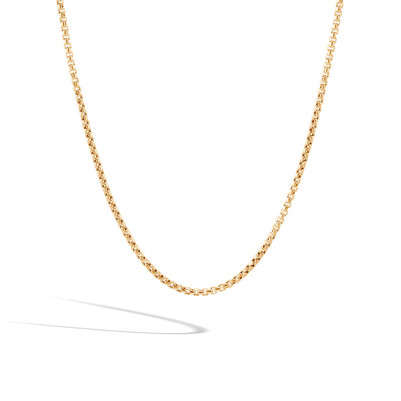 2.5MM Box Chain Necklace in 18K Gold, , large
