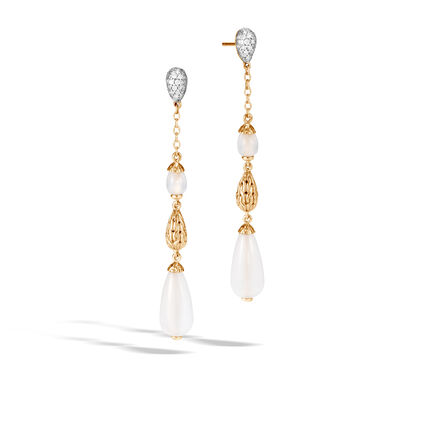 Classic Chain Drop Earring in 18K Gold, Gemstone, Diamonds