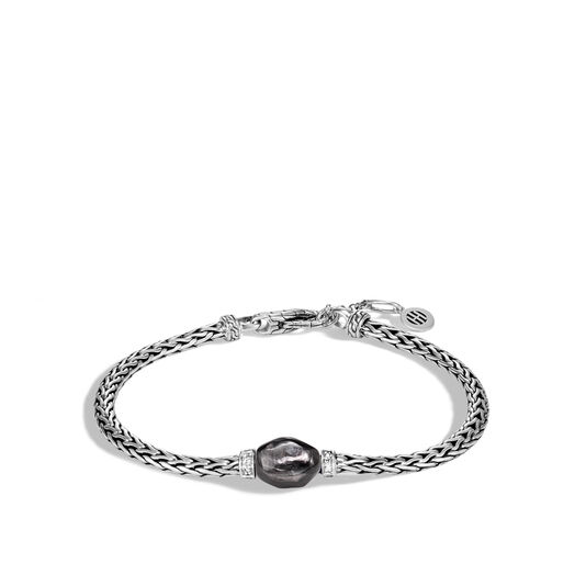 Classic Chain Bracelet in Silver with Gemstone, Hypersthene, large