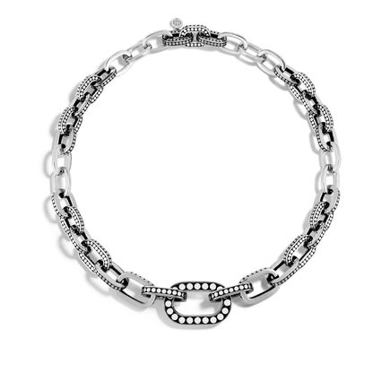 Dot Graduated Link Necklace in Silver