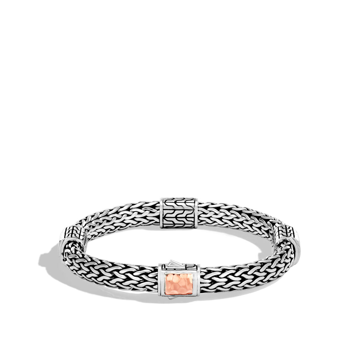 Classic Chain 7.5MM Hammered Station Bracelet, Silver, 18K Rose