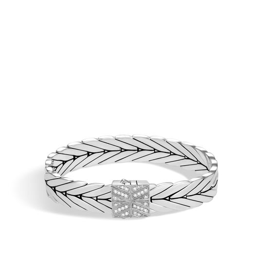 Modern Chain 11MM Bracelet in Silver with Diamonds, White Diamond, large