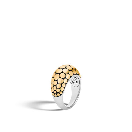 Dot 12MM Dome Ring in Silver and 18K Gold