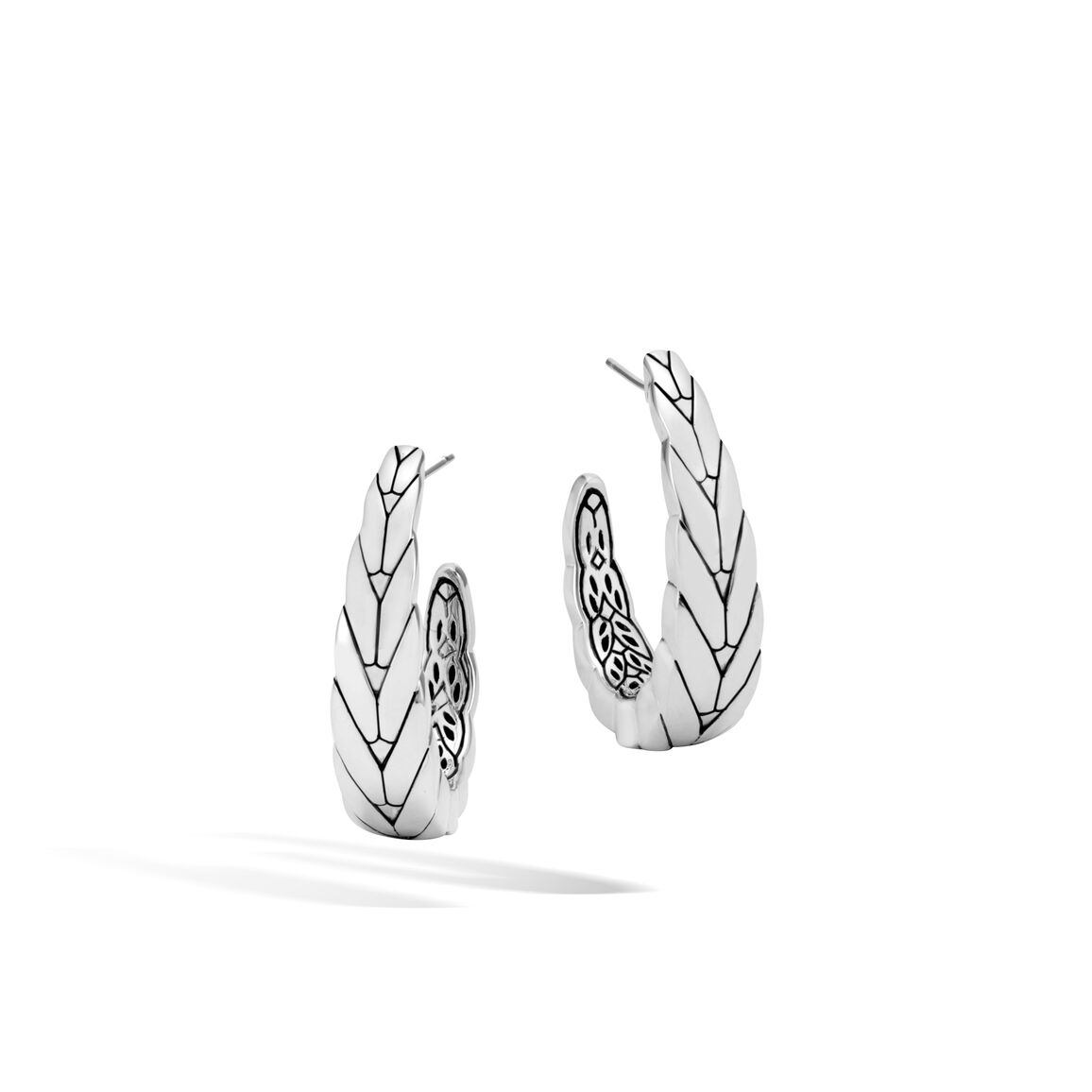Modern Chain Medium J Hoop Earring in Silver