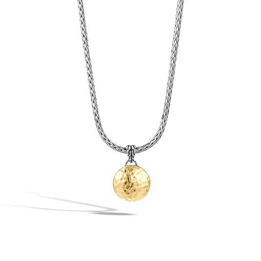 Dot Hammered Reversible Pendant Necklace, Silver, 18K Gold, , large