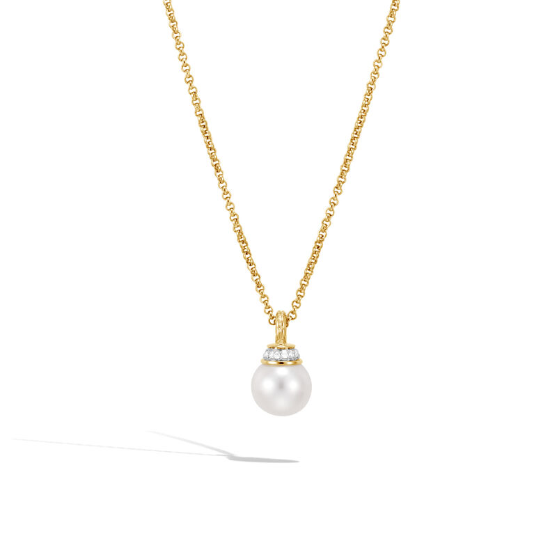 Classic Chain Pendant Necklace in 18K Gold, Pearl, Diamonds, White Fresh Water Pearl, large