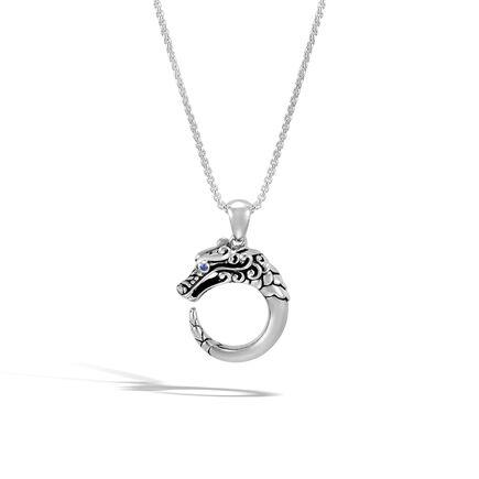 Legends Naga Pendant Necklace in Brushed Silver