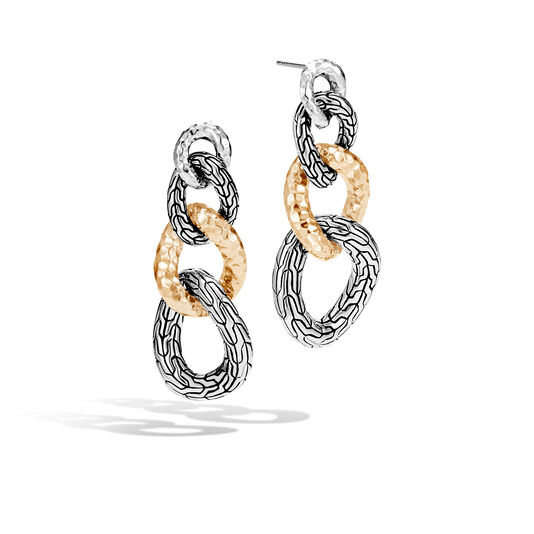 Classic Chain Drop Earring in Silver and Hammered 18K Gold, , large