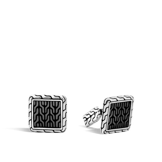 Classic Chain Cufflinks in Silver with Transparent Enamel, , large