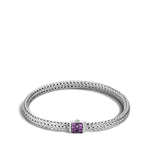 Classic Chain 5MM Bracelet in Silver with Gemstone, Amethyst, large