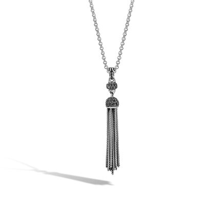 Classic Chain Tassel Necklace in Silver with Gemstone