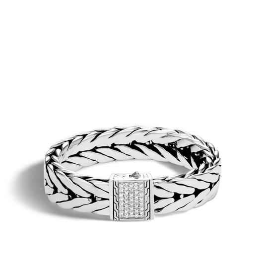 Modern Chain 16MM Bracelet in Silver with Diamonds, White Diamond, large