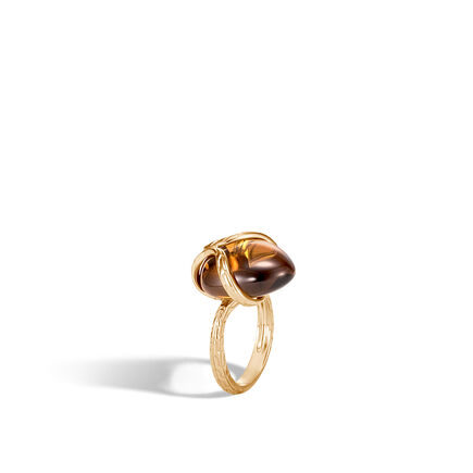 Classic Chain Ring in 18K Gold with 14MM Gemstone