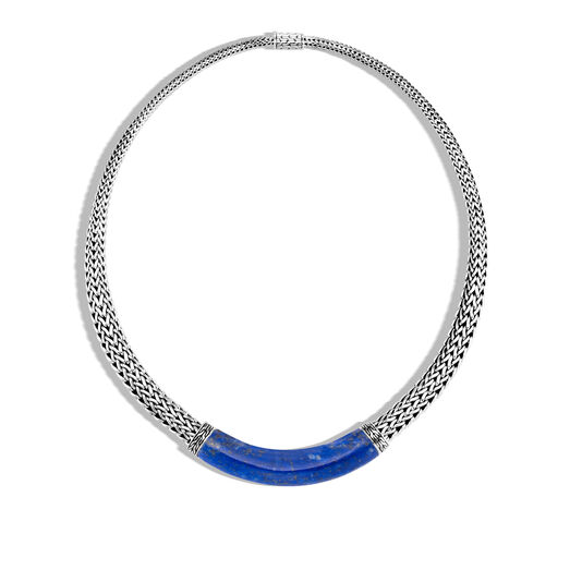 Classic Chain 11MM Graduated Necklace in Silver, Gemstone, Lapis Lazuli, large