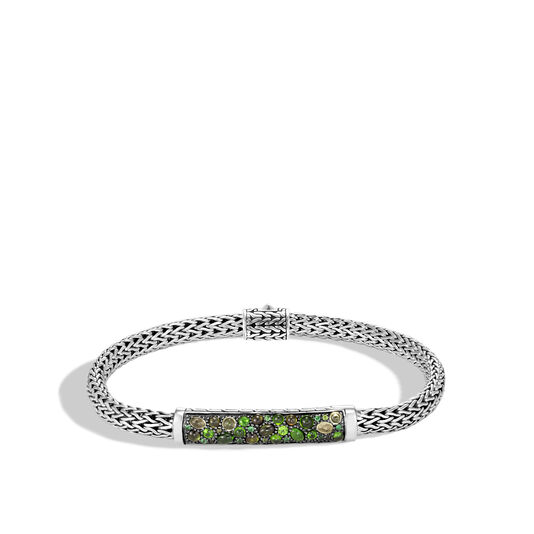 Classic Chain 5MM Station Bracelet in Silver with Gemstone, Green Tourmaline, large