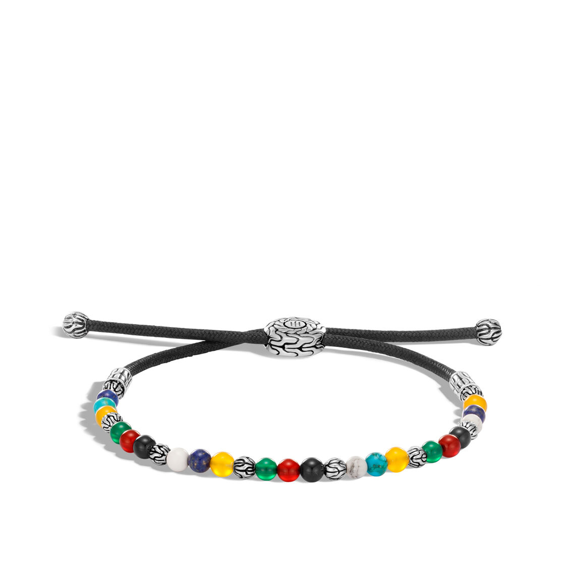Classic Chain Pull Through Bead Bracelet in Silver with Gem