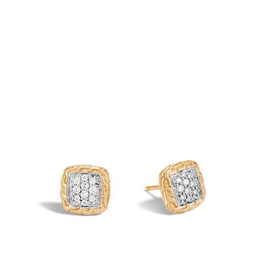 Classic Chain Stud Earrings in 18K Gold with Diamonds, White Diamond, large