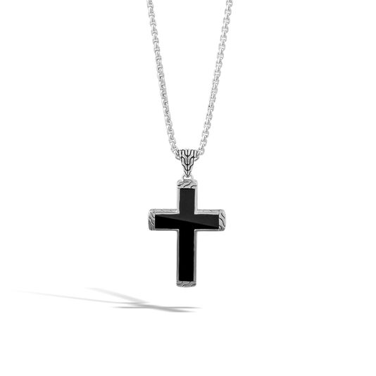 Men's Classic Chain Cross Necklace in Silver with Gemstone, Black Jade, large