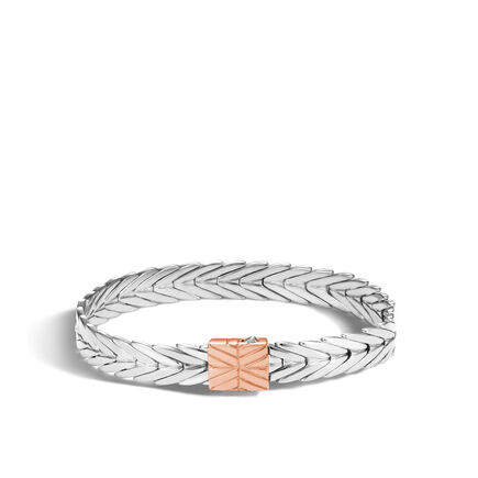 Modern Chain 8MM Bracelet in Silver and 18K Rose Gold