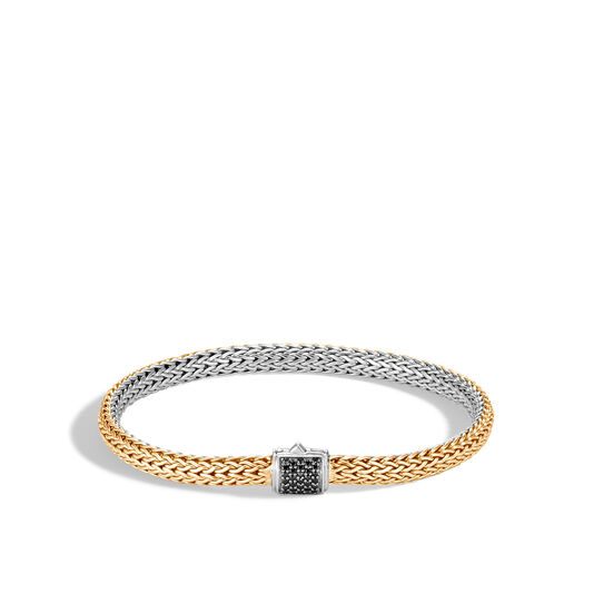 5MM Reversible Bracelet in Silver and 18K Gold with Gemstone, Black Spinel, large