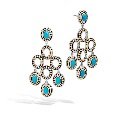 Dot Chandelier Earring, Silver and 18K Gold, 6x4MM Gemstone, Natural Arizona Turquoise, large