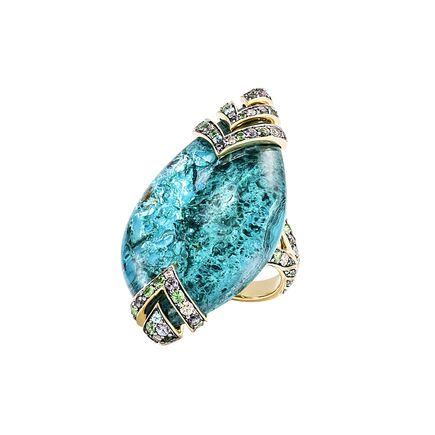 Cinta Modern Chain Ring in 18K Gold with Chrysocolla