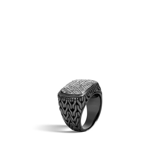 Classic Chain Signet Ring in Blackened Silver with Diamonds, Grey Diamond, large