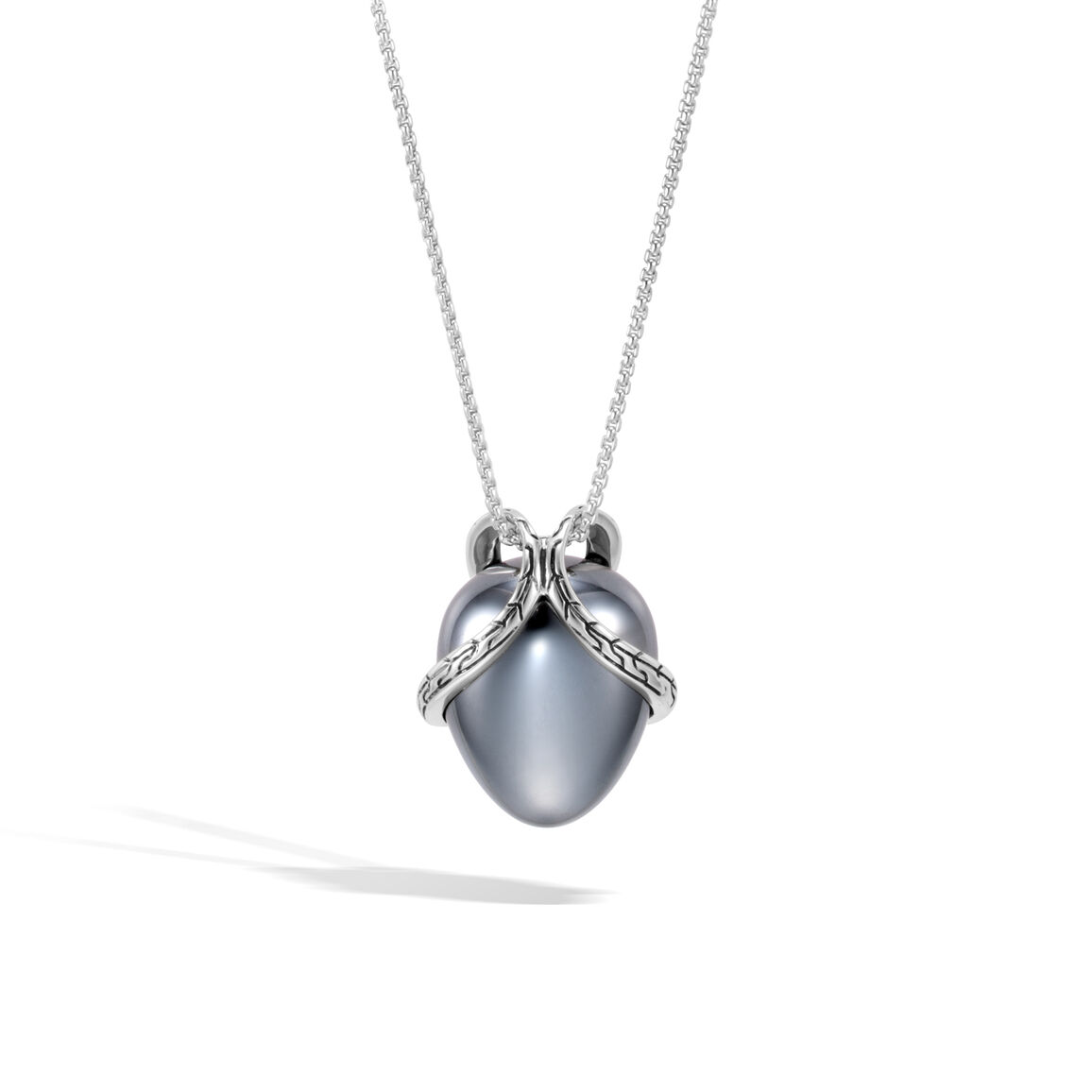 Classic Chain Pendant Necklace In Silver with 17MM Gemstone
