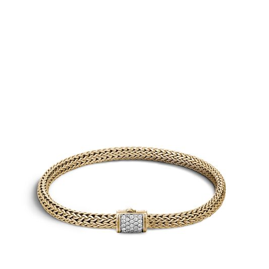 Classic Chain 5MM Bracelet in 18K Gold with Diamonds, White Diamond, large