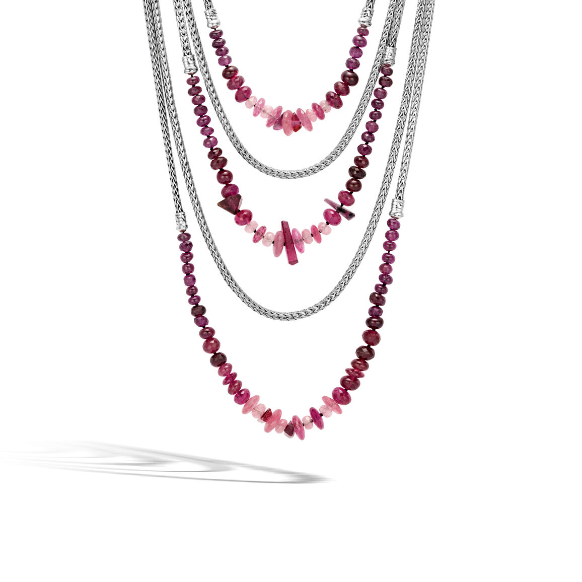 Asli Classic Chain Link Bib Necklace in Silver with Gemstone