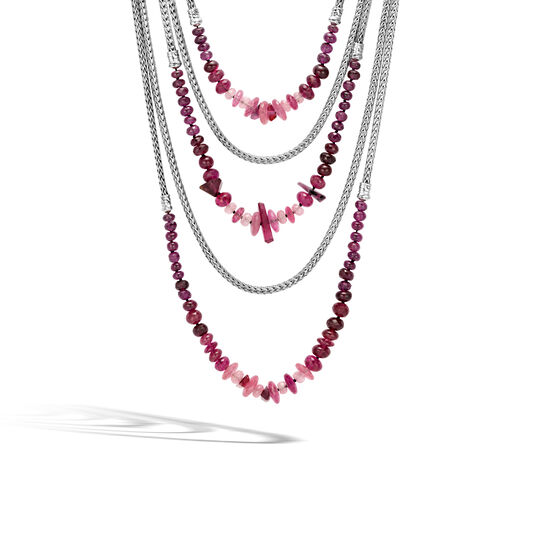 Asli Classic Chain Link Bib Necklace in Silver with Gemstone, Pink Tourmaline, large