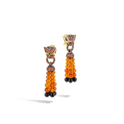 Legends Macan Tassle Earring, 18K Gold, Gemstone, Diamonds