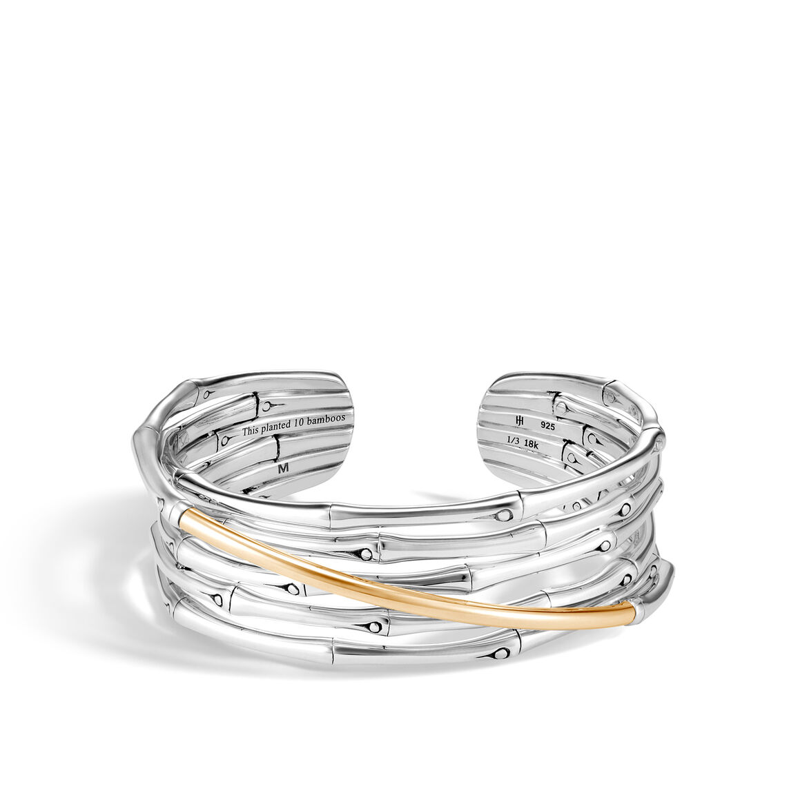 Bamboo Cuff in Silver and 18K Gold
