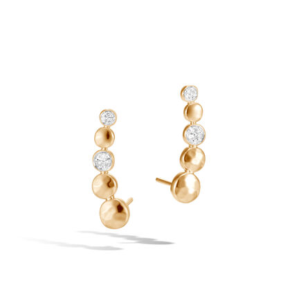 Dot Ear Crawler in Hammered 18K Gold with Diamonds