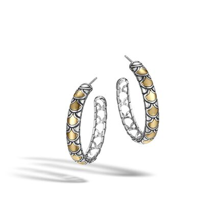 Legends Naga Medium Hoop Earring in Silver and 18K Gold