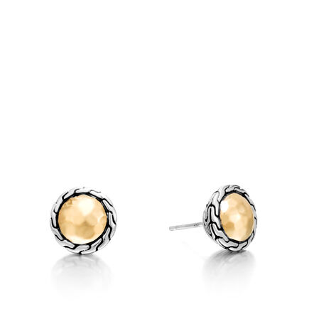 Classic Chain Round Stud Earring in Silver and 18K Gold