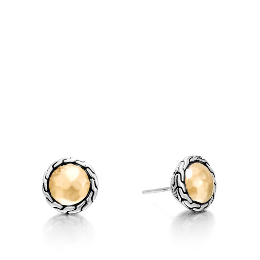 Classic Chain Round Stud Earring in Silver and 18K Gold, , large