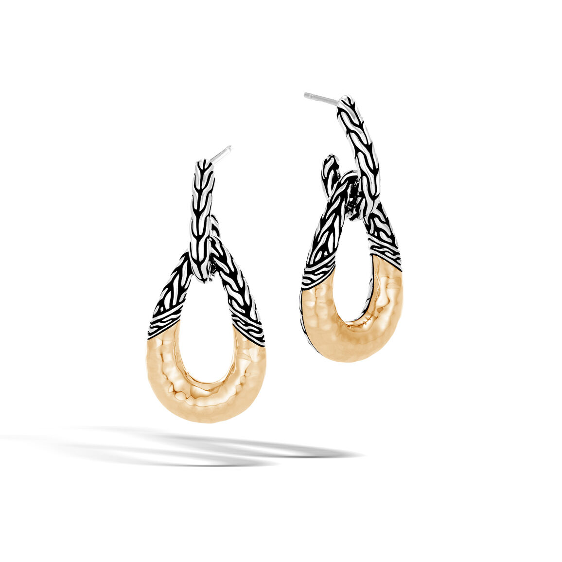 Classic Chain Door Knocker Earring Silver, Hammered 18K Gold